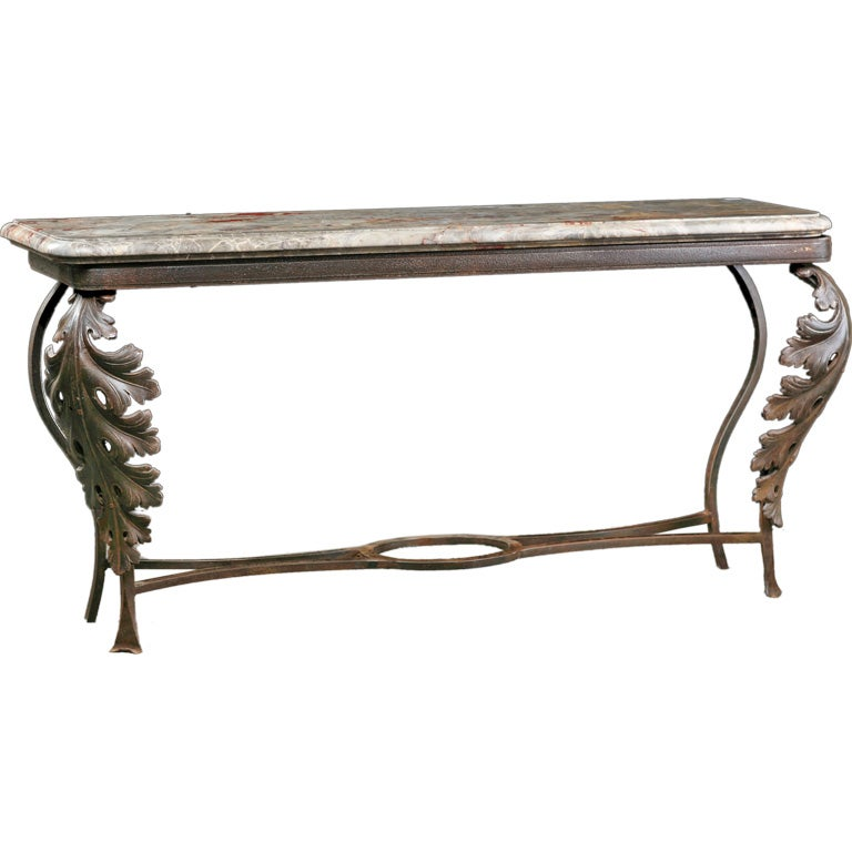 French antique iron balcony console with 18th century for Balcony console