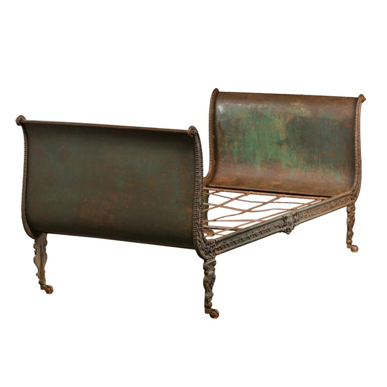 Antique Cast Iron Bed Day Bed Full Size by VintageModernDesign