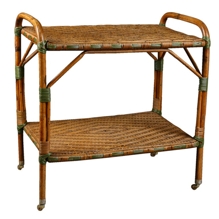 French Antique Rattan Rolling Dessert Cart With Green