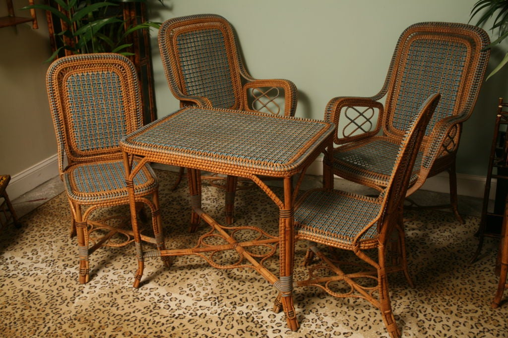 Set Of Four Provencal French Bleu Rattan Chairs With A