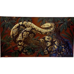 Paul Jouve Design Lacquer Panel, Executed by Godde