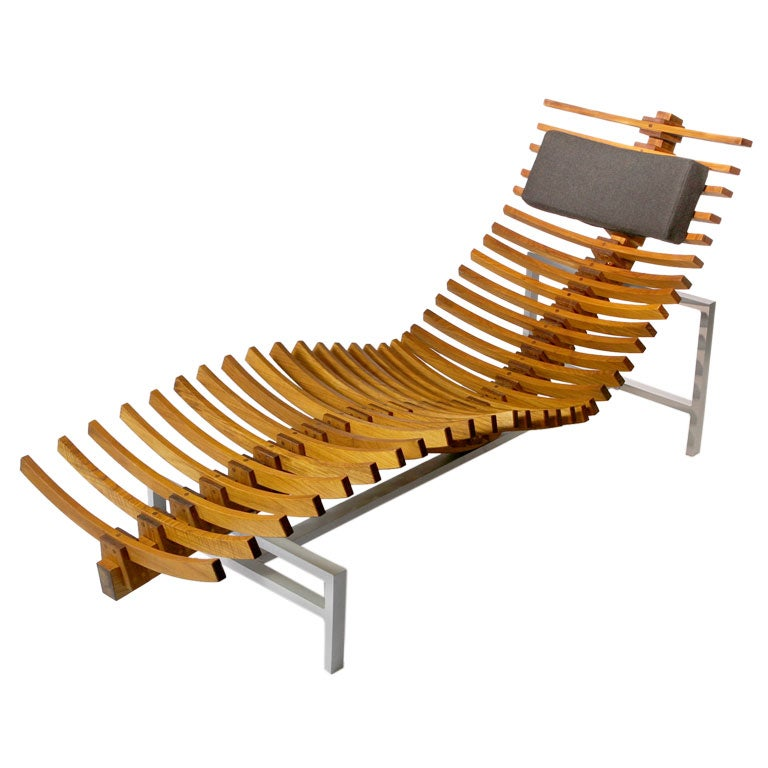 Teakwood chaise longue at 1stdibs for Chaises longues aluminium