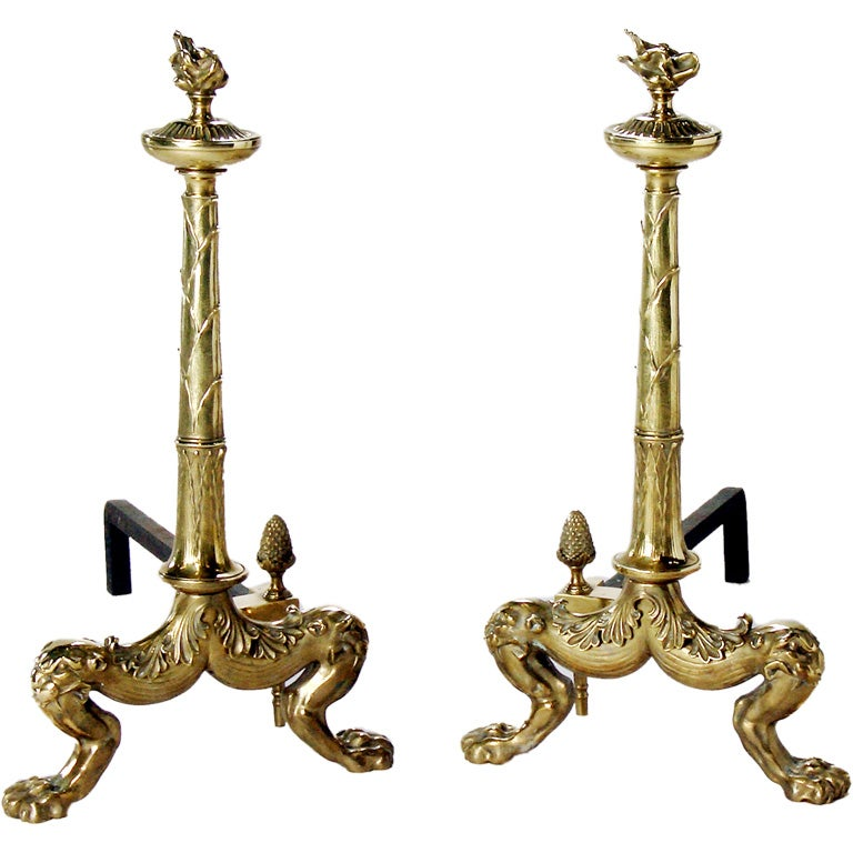 Large Brass Andirons For Sale