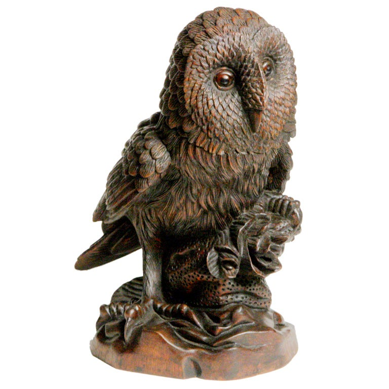 Carved wood owl