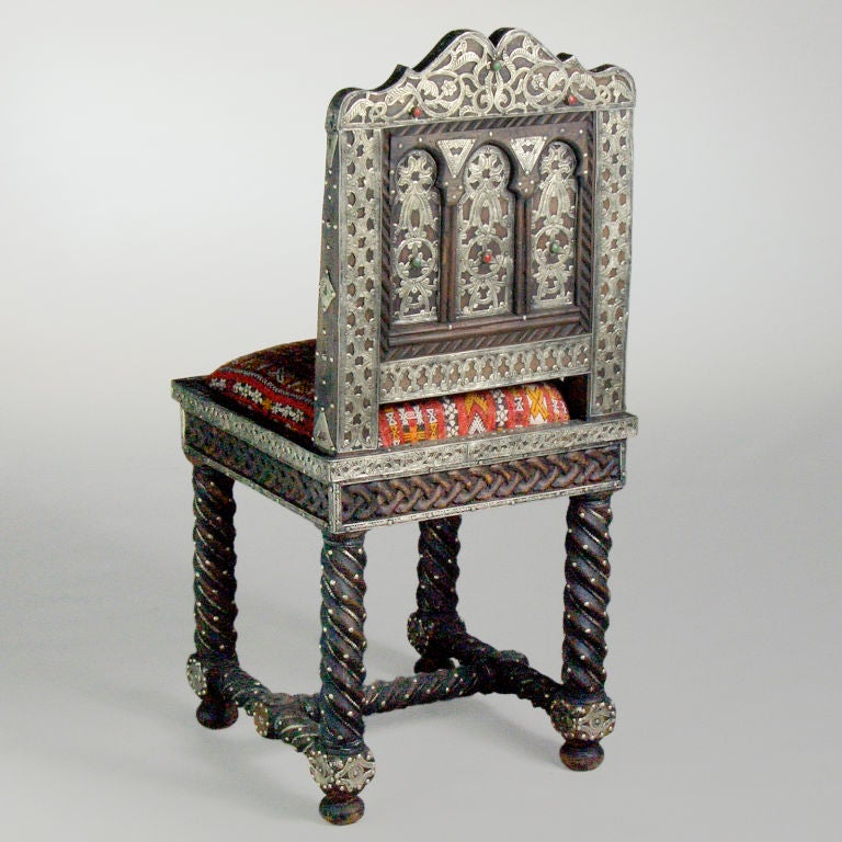 Carved Moroccan Hardwood Table With Chairs At 1stdibs
