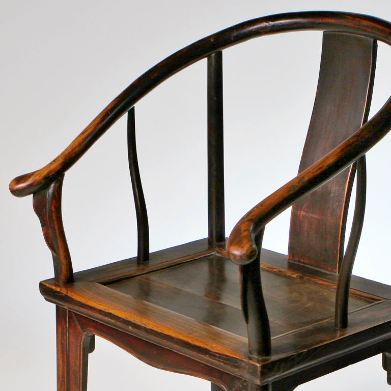 Chinese Horseshoe Armchair In Excellent Condition For Sale In New York, NY