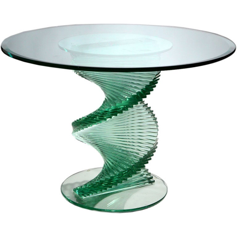 glass spiral table at 1stdibs