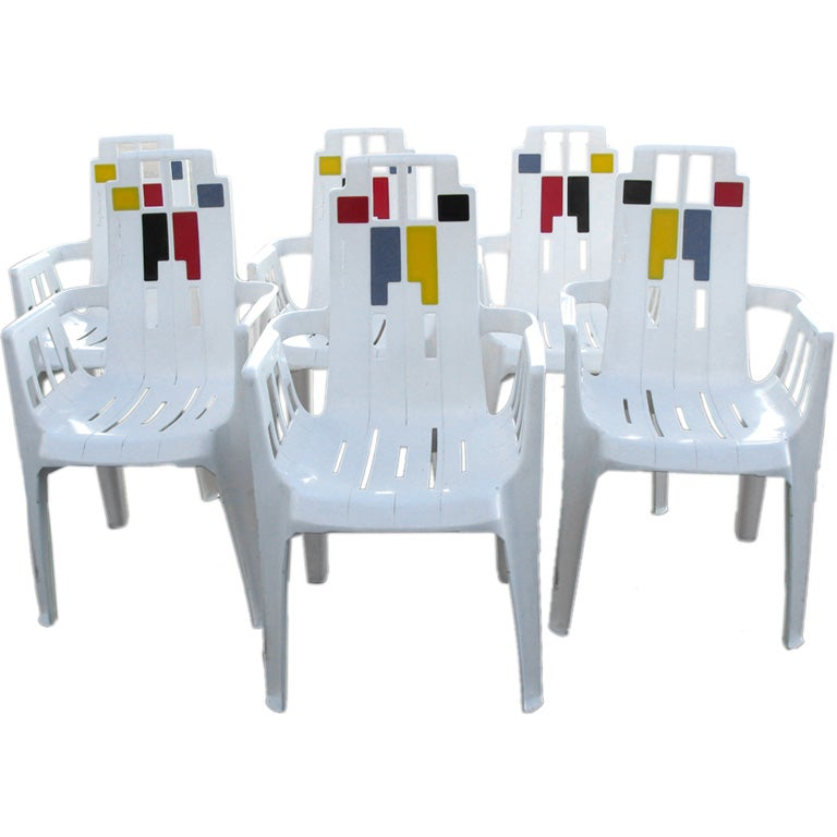exceptional set of 6 french henry massonnet patio. Black Bedroom Furniture Sets. Home Design Ideas