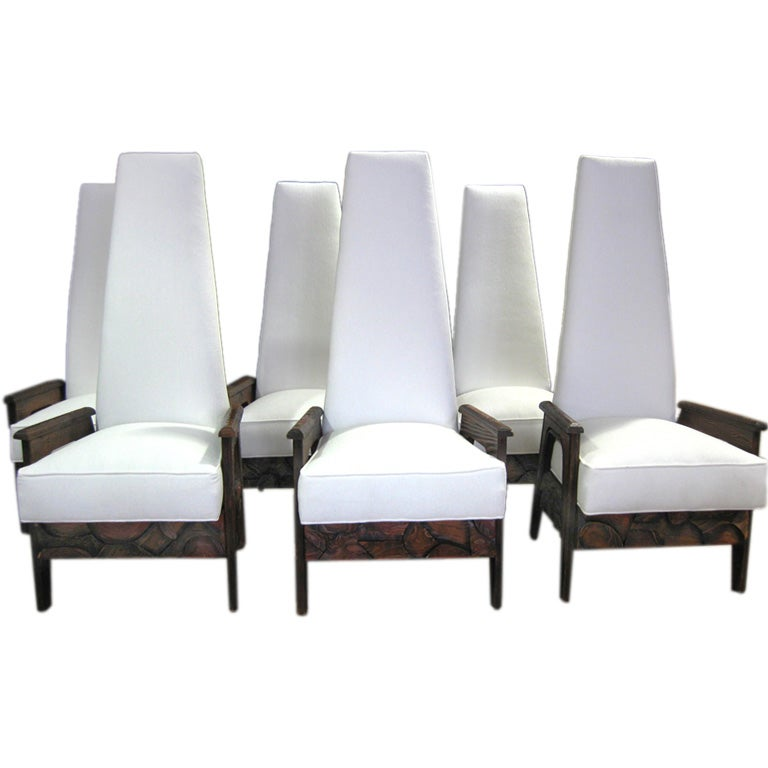 Spectacular Set Of 6 Cubiste High Back Dining Chairs At