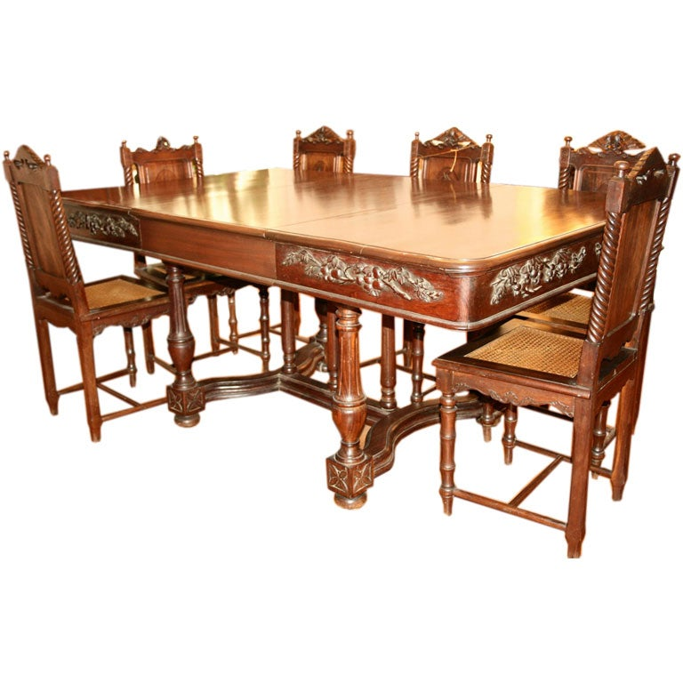 Hand Carved Rosewood Dining Table With Six Chairs At 1stdibs