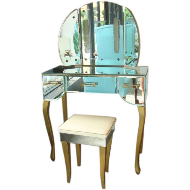 Divinely Glamorous Mirrored Vanity At 1stdibs