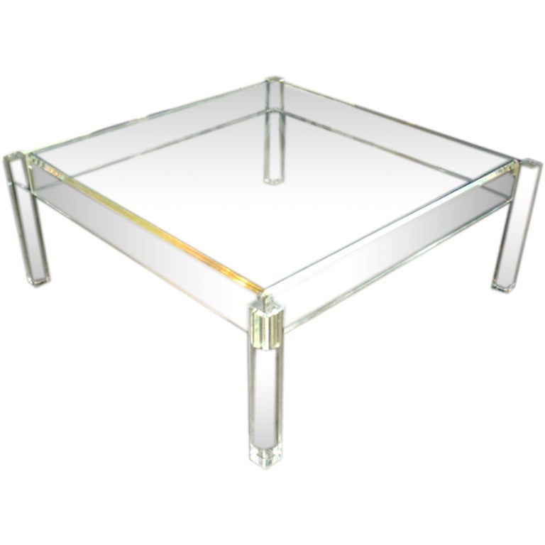 Vintage Simple Square Lucite Cocktail Table At 1stdibs