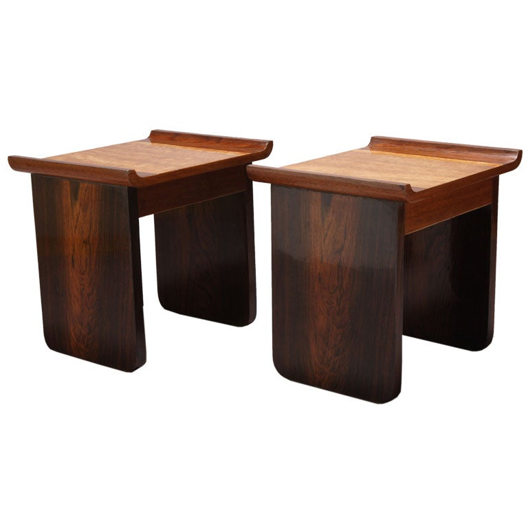 Pair Of Mid Century Stools Attributed To Pierre Chareau At