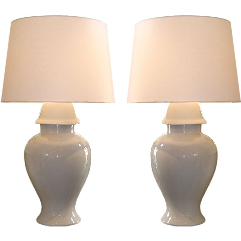Pair Of Colossal Porcelain Ginger Jar Lamps At 1stdibs