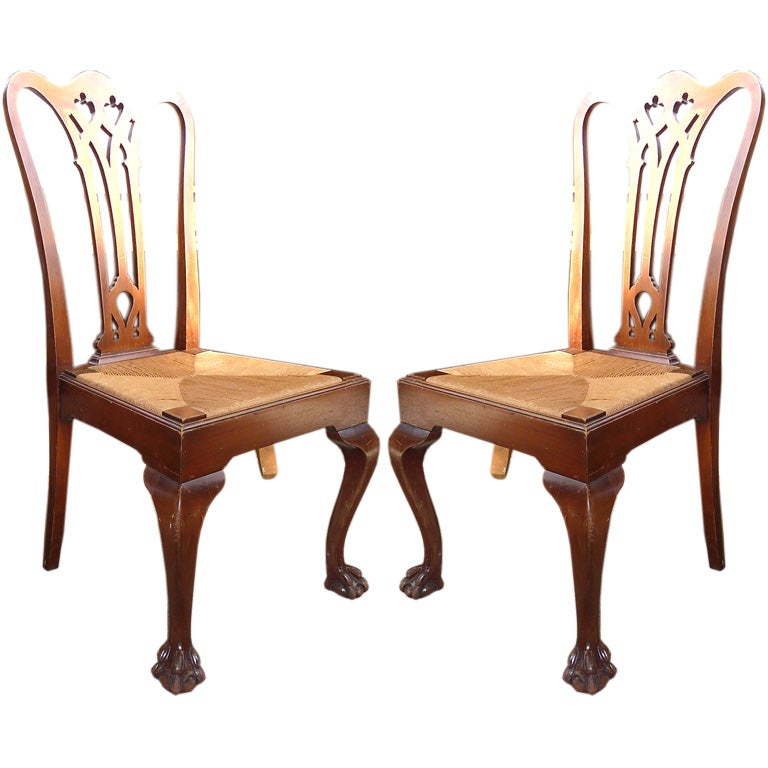 set of four chippendale chairs with rush seats at 1stdibs. Black Bedroom Furniture Sets. Home Design Ideas