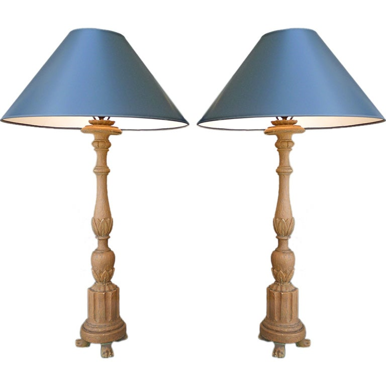 Pair Of Candlestick Lamps With Terracotta Finish At 1stdibs