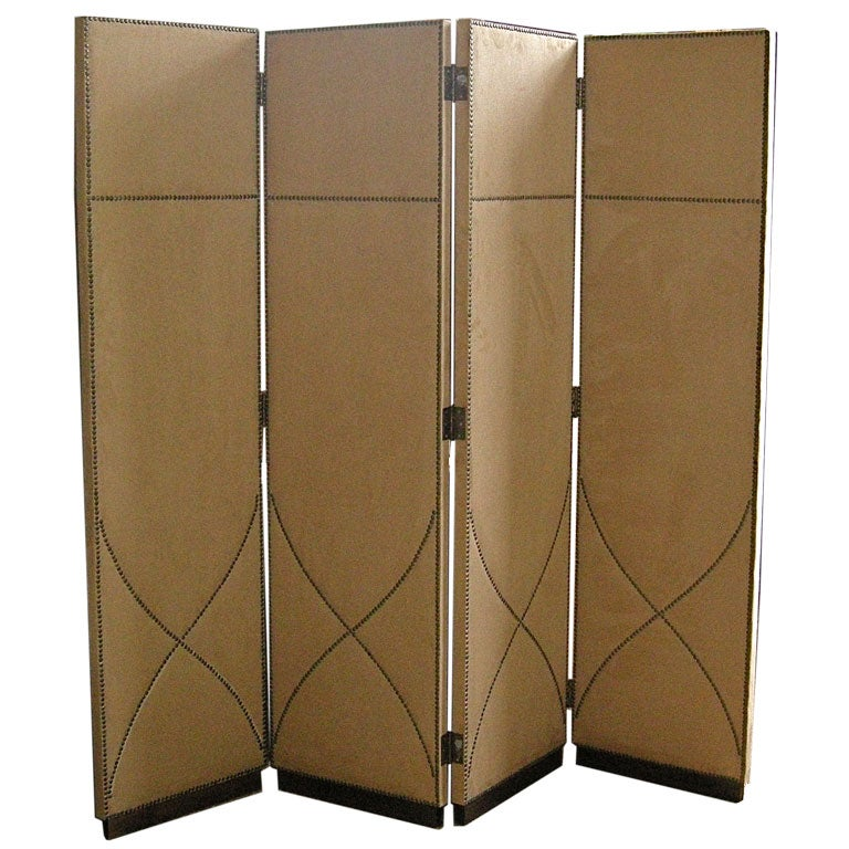Tall Suede Folding Screen With Decorative Nailhead Trim at