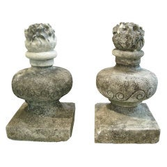 Large 19th C Italian Flame Finials