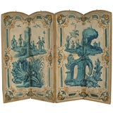 Late 18th C Four Panel Painted Screen
