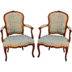 Pair of Louis XV Cherry and Beech Fauteuil Signed Poirie, circa 1750