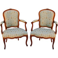 "Pair of Louis XV Cherry and Beech Fauteuil Signed ""Poirie,"" c1750"