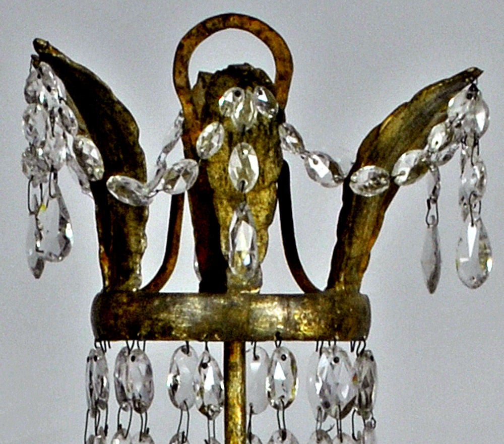 Neoclassical Pair of Italian Crystal, Iron and Giltwood Table Chandeliers, circa 1780 For Sale