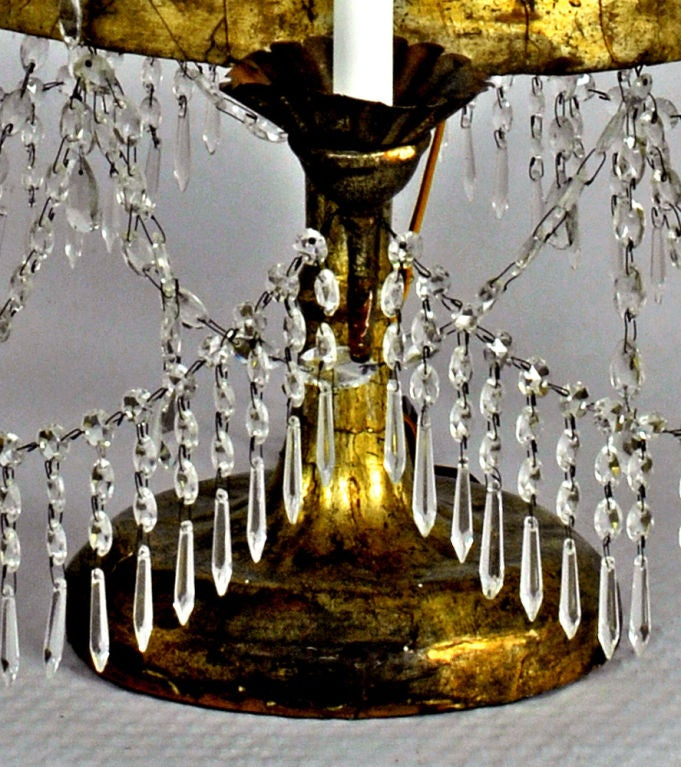 Pair of Italian Crystal, Iron and Giltwood Table Chandeliers, circa 1780 In Excellent Condition For Sale In Kinderhook, NY