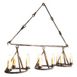 "Large Custom Iron ""Huron"" Kitchen Island or Billiard Light Fixture with 9 Lights"