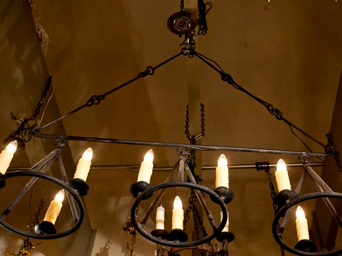 "Large Hand-Crafted Iron ""Huron"" Kitchen Island or Billiard Light 6"