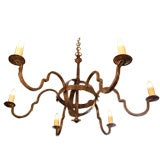 Custom-made handforged iron 6 arm chandelier