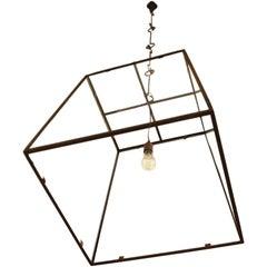 "Large-Scale Custom Blacksmith-Made Iron and Glass ""Lorain"" Lantern"