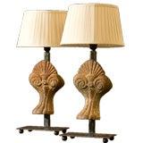 Pair Belgian antique iron pieces as lamps