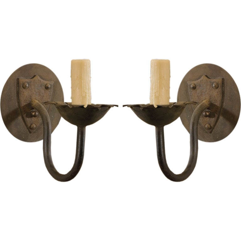 Vintage hand-forged pair iron sconces For Sale at 1stdibs