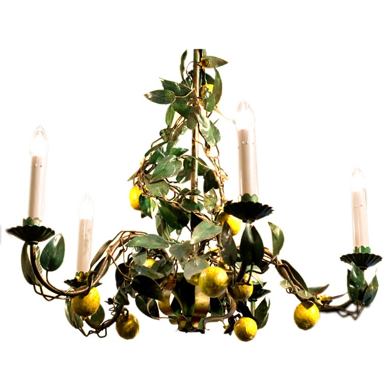 Italian Tole Quot Lemon Quot Chandelier With 5 Arms At 1stdibs