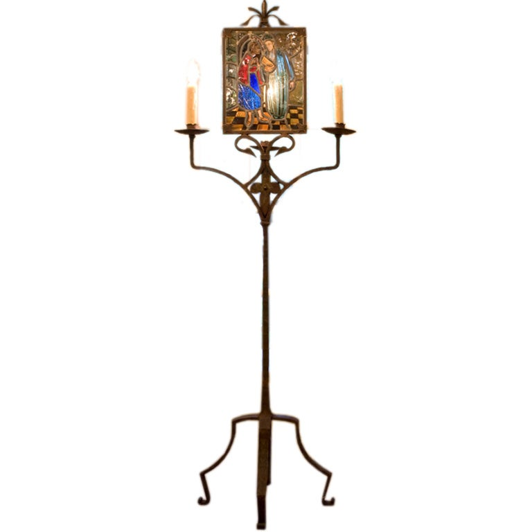 this stained glass and iron floor lamp is no longer available. Black Bedroom Furniture Sets. Home Design Ideas