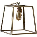 "American Trapezoid ""Preble"" Brass and Glass Lantern"