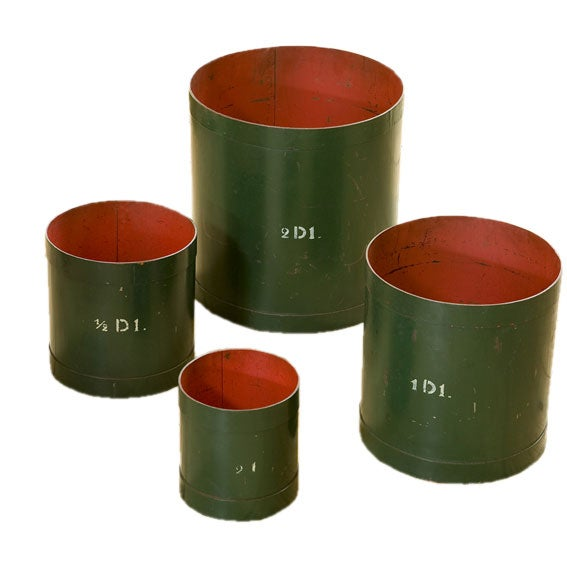 Set of Four Green and Red Vintage Belgian Measures 1