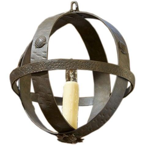 "Hand-Forged Custom Iron ""Muskingum"" Sphere Pendant"
