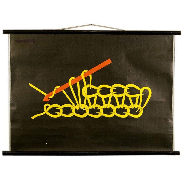 set of 7 crochet educational charts on original dowels 1