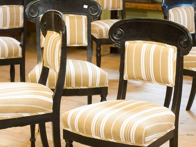 Set Of Six Antique Ebonized Greek Revival Dining Chairs For 1