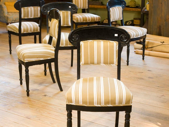 Set of six antique ebonized greek revival dining chairs at
