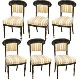 Set of Six  antique Ebonized Greek Revival Dining Chairs