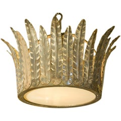 "Hand-Crafted Custom Iron ""Fairfield"" Crown Light with Glass Diffuser"