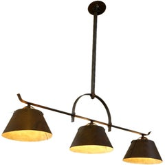 "American Blacksmith-Made Custom ""Lucas"" Kitchen Island or Billiard Light"