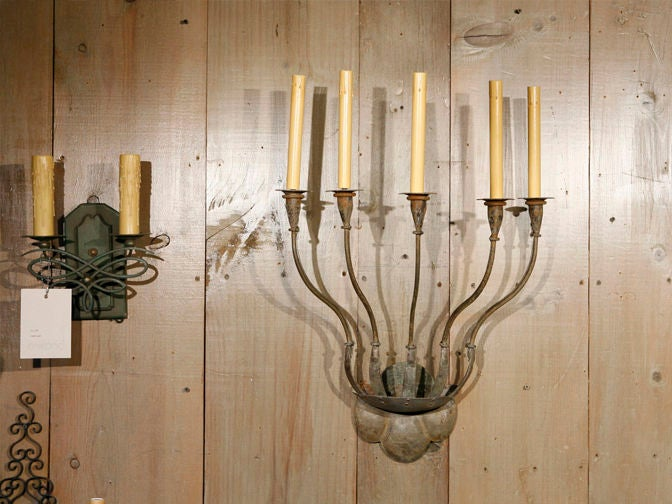 Custom Metal Wall Sconces : Pair of custom 5-light iron