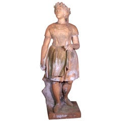 Terra Cotta Statue of Peasant Girl