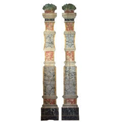 French Painted Flat Columns