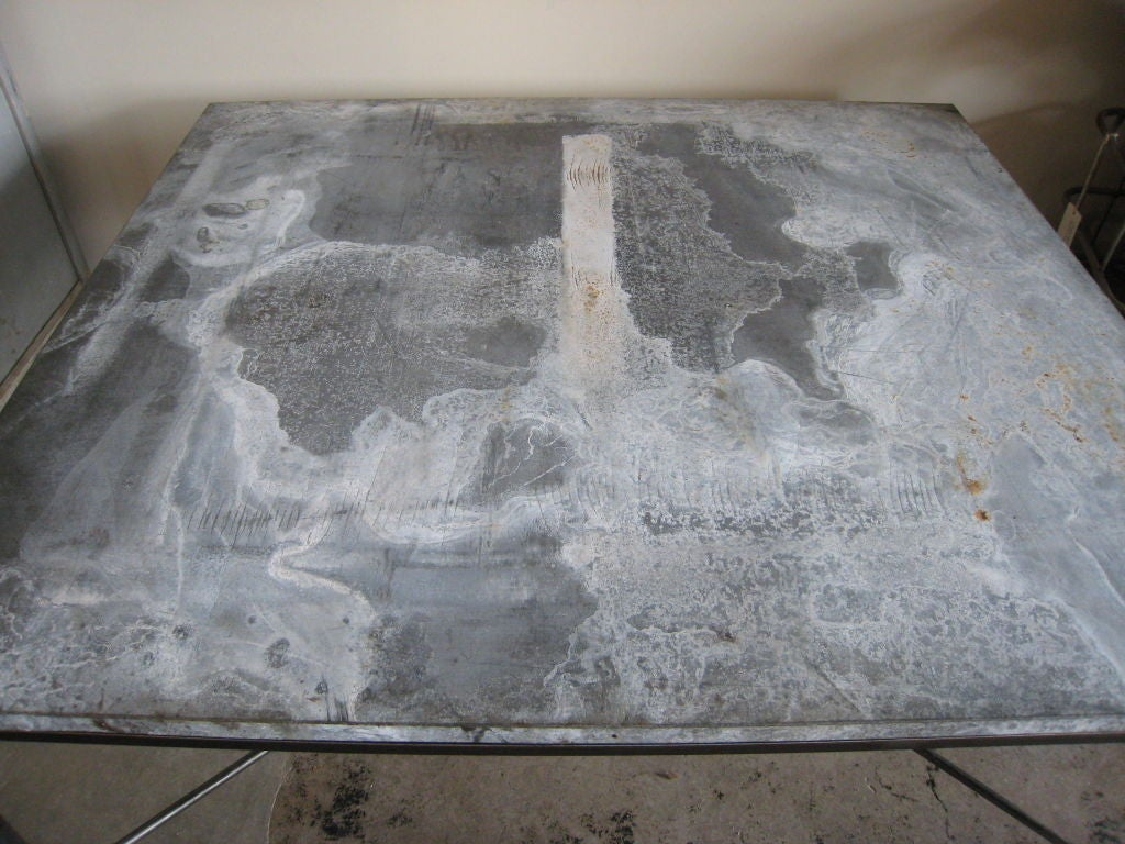 Galvanized Metal Dining Table At 1stdibs