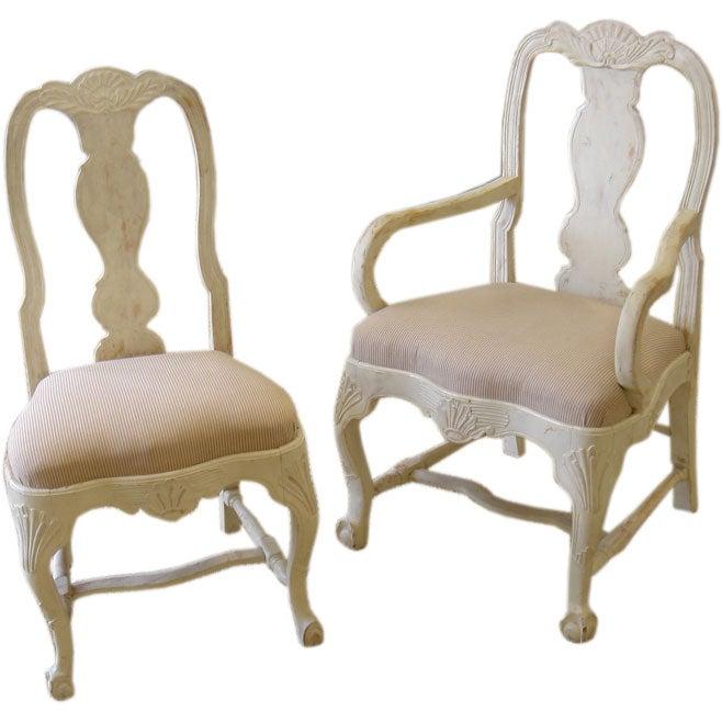 Set Of 8 Swedish Dining Chairs At 1stdibs
