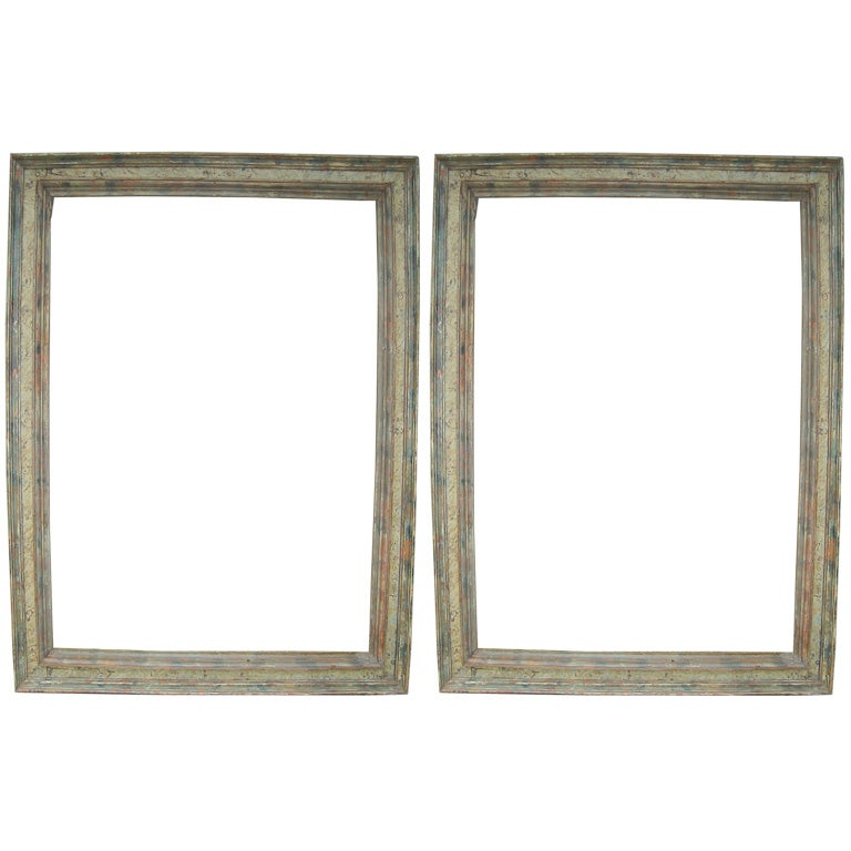 Eyeglasses Frame In Spanish : Pair 18th.C. Painted Spanish Frames at 1stdibs